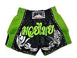 Lumpinee Retro Original Muay Thai Shorts for Kick Boxing Fight LUMRTO-010 (XL, Green Viper)
