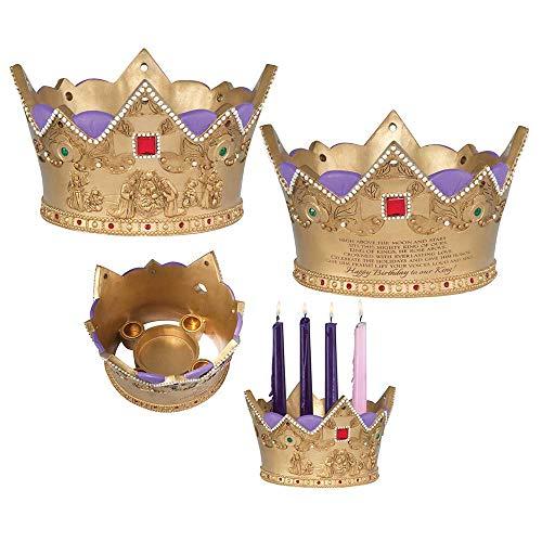 Dicksons Nacimiento del Rey Adviento dorado tono de 9 x 5 candelabro de Navidad con piedra de resina