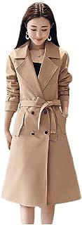 Howely Women Skinny Mid-Long Belt Elegent Double Button Trench Coat Jacket
