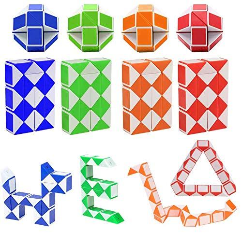 Mgrett 12 Stücke 24 Blöcke Magische Schlangen Würfel, Magische Geschwindigkeit Puzzle Würfel Schlange Spielzeug für Kinder Party Tasche Füllstoff, Party Favors Zufällige Farbe (color1)