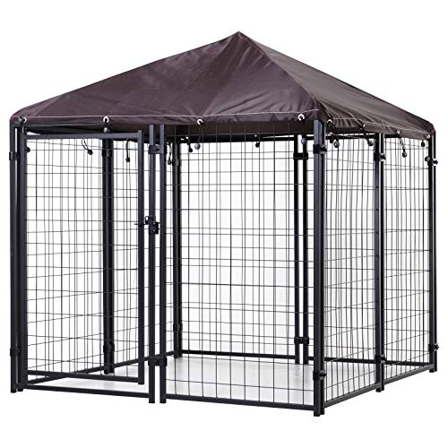PawHut Lockable Dog House Kennel with Water-Resistant Roof for Small and Medium Sized Pets