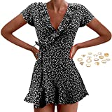 Womens Summer Short Sleeve V Neck Casual Floral Print Ruffle Hem Mini Dress Short Dresses with Rings Black