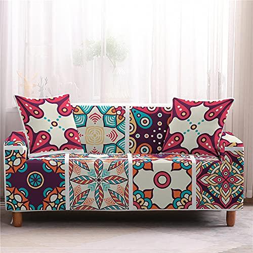 Meiju Fundas de Sofá Elasticas Ajustables de 1 2 3 4 Plazas Impresión Universal Antideslizante Cubierta de Sofá Funda Cubre Sofas Furniture Protector (Enrejado,3 plazas - 190-230cm)