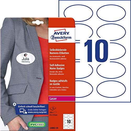 Avery Zweckform Namensetiketten (200 Namensaufkleber, 85x50 mm auf DIN A4, selbstklebend, bedruckbare Textiletiketten aus Acetatseide, rückstandsfrei ablösbar, Laser, 20 Bogen L4882-20) weiß