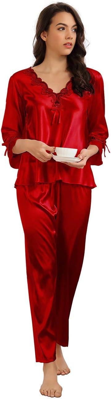1950s Sleepwear, Loungewear History and Shopping Guide Ladies Pyjamas Set Silky Satin Pyjamas for Women Sleepwear Loungewear £17.99 AT vintagedancer.com