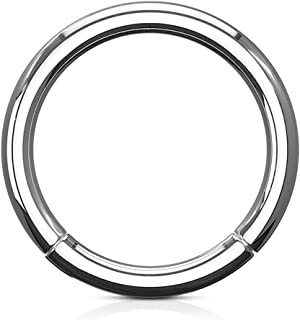 Grade 23 Solid Titanium Hinged Seamless Septum Clicker Ring