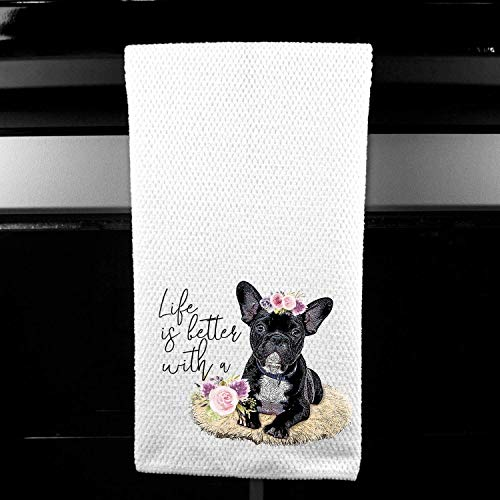 Life is Better with a Frenchie French Bulldog Waffle Microfiber Kitchen Tea Bar Towel Gift for Animal Dog Lover