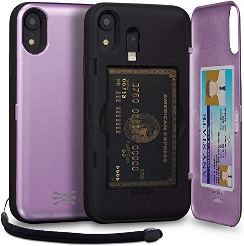 TORU CX Pro Funda iPhone XR Carcasa Cartera Morado con Tarjetero Oculto, Adaptador Lightning, Correa para la muñeca y Espejo para Apple iPhone XR (2018) - Lavanda