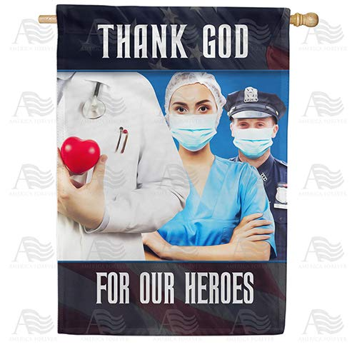 America Forever Flags Double Sided House Flag - Giving Their All For All Of Us - 28' x 40', Thank You Healthcare Workers, Fight Against Covid-19 Coronavirus Pandemic Flag, Yard Outdoor