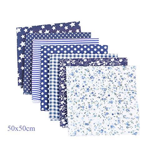 CHARS Stoffreste Baumwolle,7 Stück Baumwollstoff meterware Stoffpaket 100% Baumwolle DIY Baumwolltuch 50x50cm zum Nähen, Patchwork, vorgeschnittene Nähen, Scrapbooking (Blau(50x50cm))