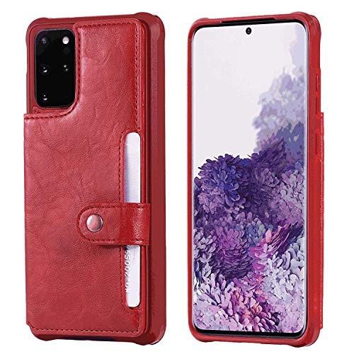 Flip Case Fit for Samsung Galaxy S10e, Kickstand Extra-Shockproof Card Holders red Leather Cover Wallet for Samsung Galaxy S10e