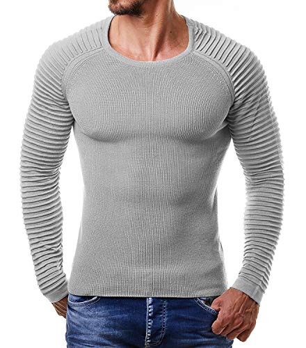 JINIDU Men's Cable Knit Jumper Sweater Long Sleeve Crew Neck Pullover Top