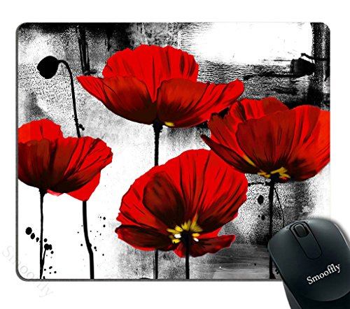 Smooffly Beautiful Vintage Poppy Flower Ink Painting Art Design Mouse Pad 9.5X7.9 inches