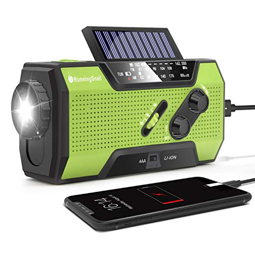 RunningSnail Solar Crank NOAA Weather Radio for Emergency with AM/FM Flashlight Reading Lamp and 2000mAh Power Bank Green