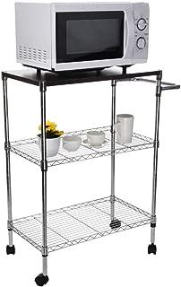 GXOK Multi-Function Storage Rack for Kitchen,Wheeled Wooden Cart Storage Rack, Kitchen Supplies Storage Rack,Sundries Storage Rack,Spice Rack for Kitchen [Ship from USA Directly]