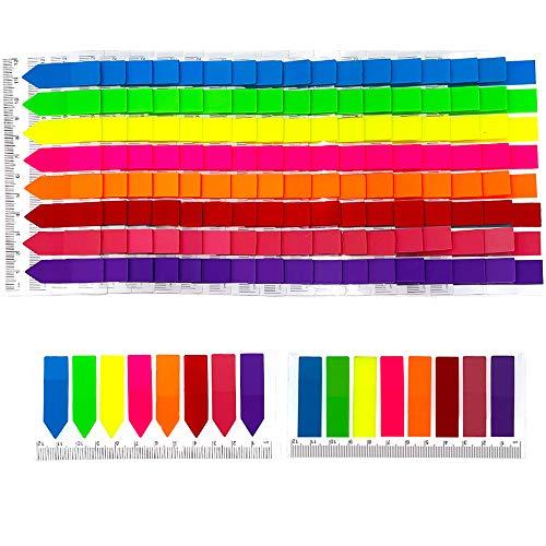 3200pz Segnapagina Adesivi Etichette Colorati Con Righello Indice Bandiere Freccia Linguette Scrivibile Etichette Marcatore Segnalibri Note