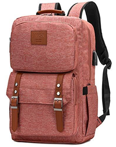 Laptop Backpack Women Men College Backpacks Bookbag Vintage Backpack Book Bag Fashion Back Pack Anti Theft Travel Backpacks with Charging Port fit 15.6 Inch Laptop Pink