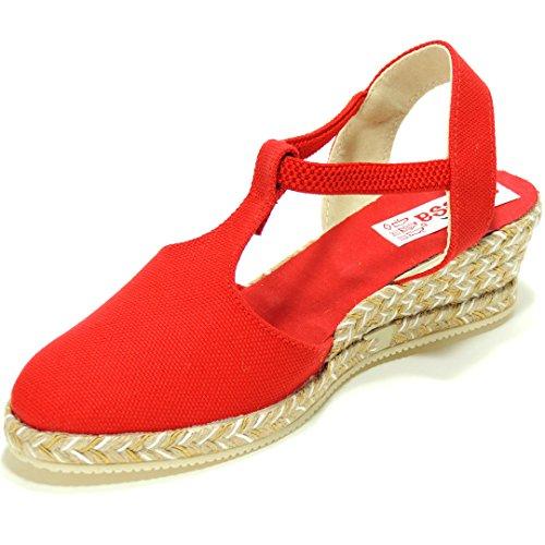 ANVESA 419 Zapatilla Valenciana con Cuña de 5CM en Esparto Cáñamo Yute para Mujer Rojo Talla 36