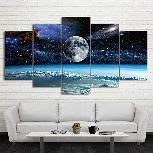 Painting 5 Piezas Cuadro sobre Lienzo Espacio Universo Luna Planeta Impresión Pinturas Murales Decor Dibujo con Marco Fotografía para Oficina Aniversario