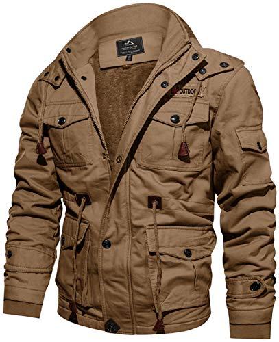 TACVASEN Winterjacke Herren Warme Dicke Jacke Fleece Thermojacke Cargo Work Arbeitsjacke Schwere Jacke Casual Baumwoll Jacke Fliegerjacke Bomberjacke Multi-Taschen Khaki