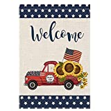 EKOREST Welcome 4th of July Garden Flag for Outside,Summer Red Truck with Sunflowers Small Fall Farmhouse Décor,12 x 18 Double Sided,Patriotic Star Yard Flags for Outdoor,Independence Day