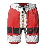 QR FUNK Men's Christmas Santa Claus Cloth Quick Drying Beach Shorts Swim Volley Trunks Large White