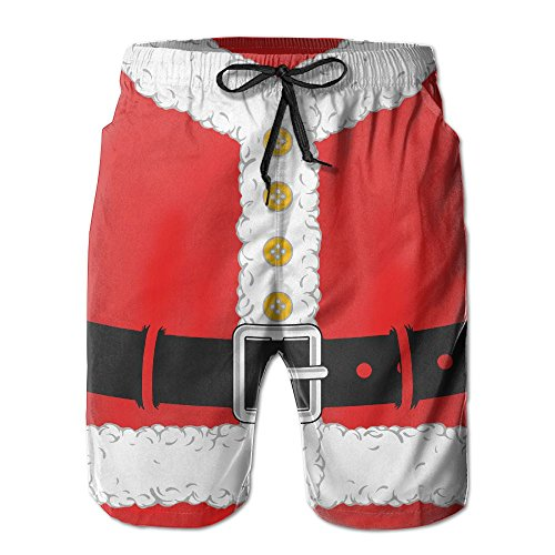 QR FUNK Mens Christmas Santa Claus Cloth Quick Drying Beach Shorts Swim Holiday Trunks X-Large White