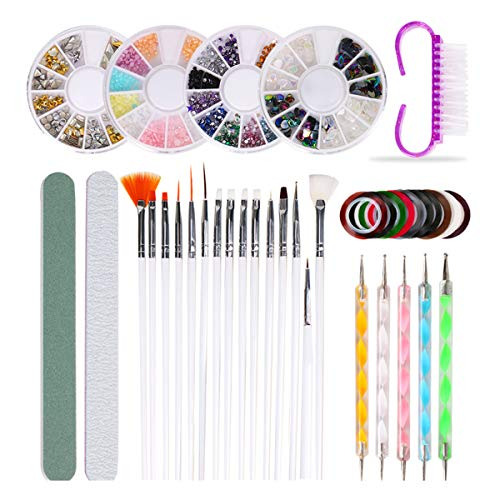 Yunnyp Nagel Pen Borstel Decoratie Set Professionele Nail Art Tool Set Diy Nagel Borstels Nagel Schilderij Strass Decoratie Manicure Kit