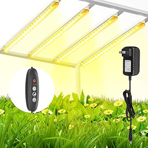 TOPLANET Lámpara de Planta, 40W Lampara Led Cultivo Tubo, T5 Full Spectrum 3500K Luz Plantas Crecimiento con Temporizador Automático 3/6/12H, 4 Niveles de Brillo Led Cultivo para Indoor Cultivo