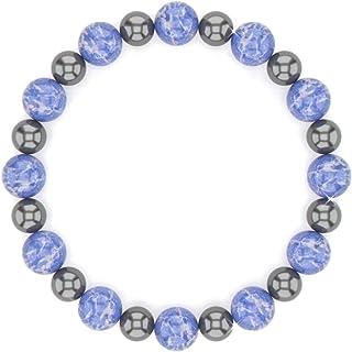 Healing 12 Blue Sodalite and Hematite Bracelet, Anti Anxiety and Stress Relief Bracelet, Chakra Bracelet for Men, Sodalite...