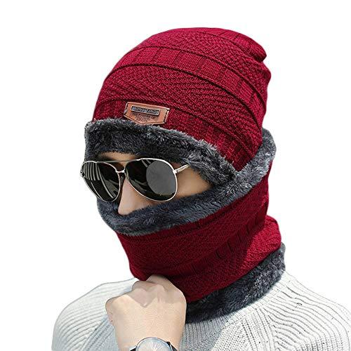 Men's 2-Pieces Warm Winter Beanie Hat & Scarf Set Knit Skull Cap for Men Women-Red