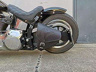 Eagle Black Schwingentasche Satteltasche Harley Davidson HD Seitentasche Softail 1981 2019 und Fatbob Streetbob ab 2018  schwarz Echtleder Leder Orletanos Seitentasche Adler