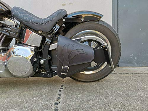 Eagle Black - Bolsa de sillín para Harley Davidson HD, bolsillo lateral Softail 1981-2019 y Fatbob Streetbob a partir de 2018, piel auténtica, color negro, con águila