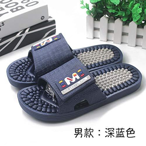 B/H Sandalias de Punta Descubierta para Mujer,Zapatillas de pie, Zapatillas de Masaje, Sandalias de plástico Antideslizantes para baño-Azul Marino_42-43