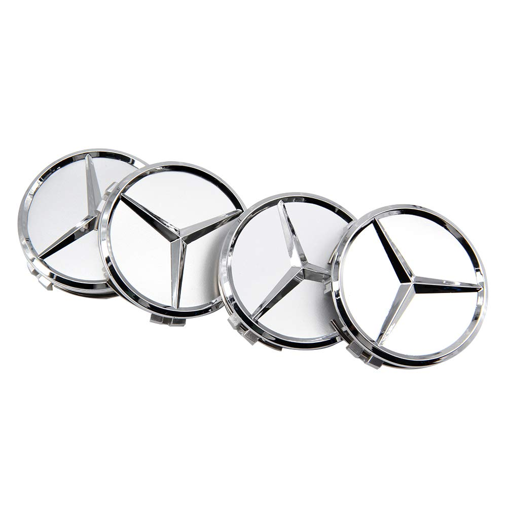 Diniwei 4 Pieces Center Wheel HUB Caps Emblem Cover 75MM Silver for Mercedes-Benz ML R AMG