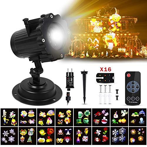 A ANGG weihnachtsbeleuchtung LED Projektionslampe, Weihnachten Projektor Beleuchtung IP65 Projektionslampe mit 16 Wechselbaren Musters, Weihnachtslicht Landschaft Spotlight für Geburtstag/Party
