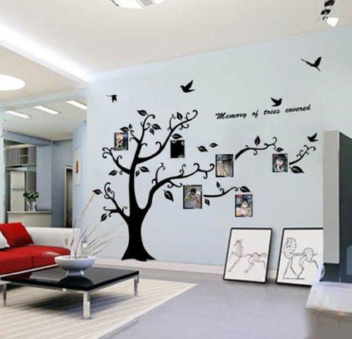 WallStickersDecal® PVC Riesig Schwarz Bilderrahmen Speicher Baum Vine Zweig Abnehmbare Wandtattoo Sticker 200CM(H) (Richtig)
