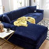Jonist Dicke Sofabezüge 1/2/3 Sitzer Samt L-Form Sofa Schonbezug Easy Fit Stretch Elastischer Stoff Sofa Couch Möbel Protector-3-Sitzer + 4-Sitzer-Tibetisch blau
