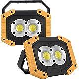 FWZJ Wiederaufladbarer Scheinwerfer, 2er-Pack 30W LED wiederaufladbare Arbeitsleuchte...