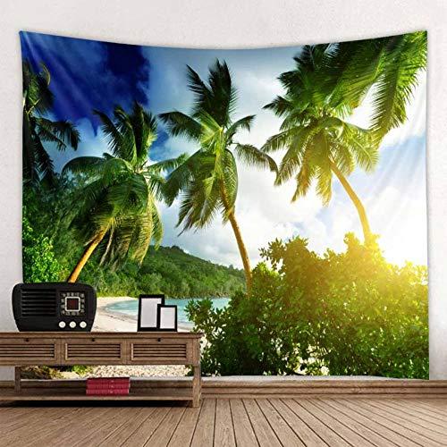 Tapiz de árbol de Coco en la decoración de la Puesta de Sol para Colgar en la Pared Mandala Indio Boho paño de Pared 150x100 cm/59 * 39 Pulgadas