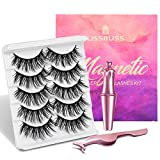 Magnetic Eyelashes with Eyeliner - Magnetic Eyelashes Natural Look Kit, Mixed 3D Mink Magnetic Eyelashes Reusable False Lashes with Applicator, No Glue Needed (5-Pairs) (mink look)