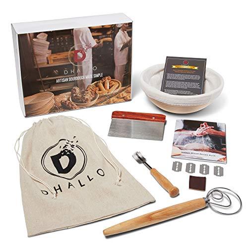 D#039Hallo Sourdough Bread Proofing Basket Kit  10 Inch  Banneton Bread Basket Set and Tools  15 Pcs