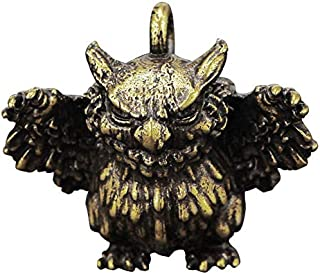 ZGPTX Car Key Chain Pendant Pure Brass Cartoon Angry Owl Figurines Keychain Hanging Jewelry Vintage Copper Animal Keyring ...