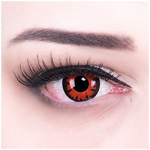 Farbige rote Kontaktlinsen ohne Stärke crazy Kontaktlinsen crazy contact lenses Demon Dämon 1 Paar. Mit Linsenbehälter + 60ml Pflegemittel