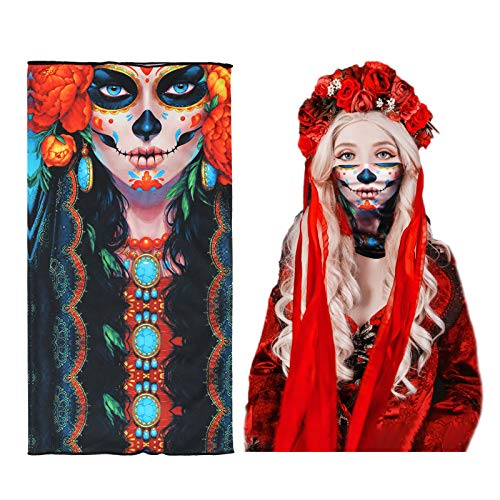 LANMOK 1 piezas Braga de Cuello Calavera Halloween Pasamontañas de Calavera Pañuelo Cabeza Diablo Máscaras Faciales Fantasma Máscara de Cara de Cráneo Multifunción para Mascaradas Cosplay Motocicletas