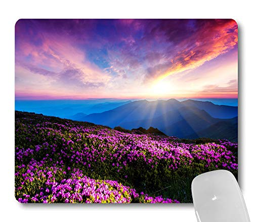 Wknoon Nature Purple Flowers Meadow Mountain Scenic at Sunny Day Mouse Pad