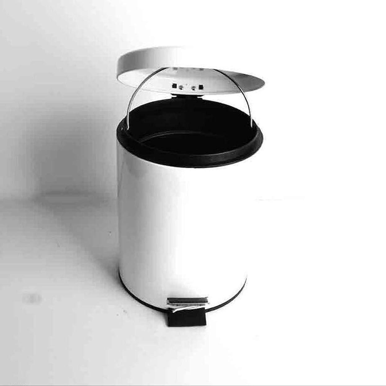 太鼓腹ドームピットCCJW はさみ金の世帯のごみ箱が付いているペダルのごみ箱のステップゴミ箱 (Color : White a)