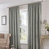 Fusion - Eastbourne - Ready Made Pair of Pencil Pleat Curtains - 66' Width x 72' Drop (168 x 183cm), Silver