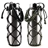 VSPORTS Paracord Net Bag Carrying Water Bottle Carrier Sling Sleeve Pouch with Handle for Hydro Flask Tumbler Hold 12 18 24 32 40 oz Stainless Steel Plastic Insulated Bottle Holder - 2 Pack