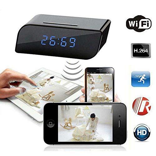 Mini Spionage Kamera versteckt in Wecker, Full HD 1080P Versteckte Kamera ÜberwachungsKamera mit Video-Aufnahme/Bewegungserkennung/USB Lade-Funktion/Loop-Aufnahme